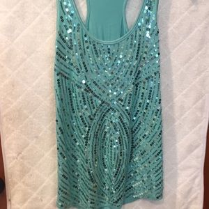 Charlotte Russe sequin turquoise tank top